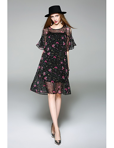 WHALE STUDIO Women's Daily Cute Chiffon Dress,Floral Round Neck Knee-length Half Sleeves Polyester Spring Summer Mid Rise Micro-elastic Medium
