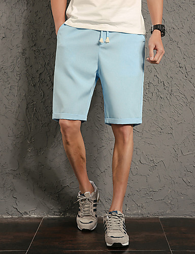 Men's Casual Active Plus Size Straight Slim Shorts Pants - Solid Colored