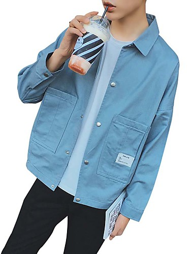 Men's Daily Simple Casual Winter Fall Jacket,Solid Shirt Collar Long Sleeve Regular Cotton Polyester