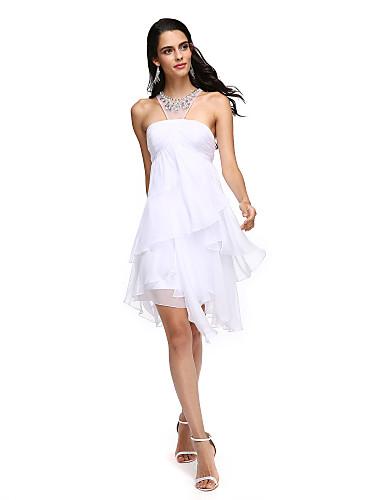 A-Linie Schmuck Asymmetrisch Chiffon Cocktailparty / Abiball Kleid mit Applikationen / Überkreuzte Rüschen / Gerafft durch TS Couture®