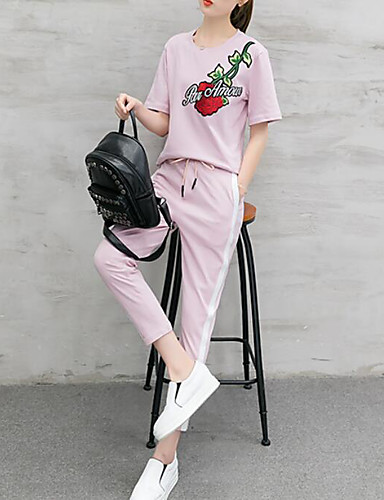 Women's Daily Casual Summer T-shirt Pant Suits,Floral Embroidery Round Neck Short Sleeve Cotton