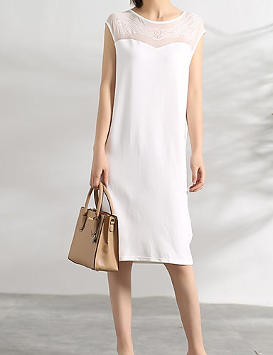 Women's Casual/Daily A Line Dress,Solid Round Neck Knee-length Sleeveless Cotton Summer Mid Rise Micro-elastic Medium