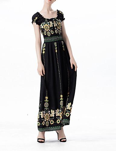 Women's Boho Sheath Swing Dress - Floral, Backless High Rise Maxi