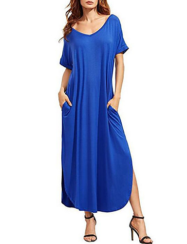 Women's Cotton Loose Dress - Solid Colored Blue Maxi V Neck
