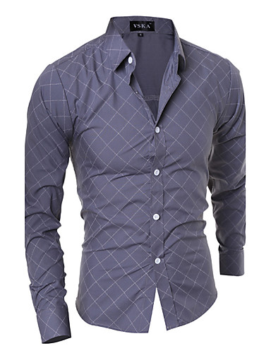 Men's Active Plus Size Cotton Shirt - Striped Geometric Standing Collar