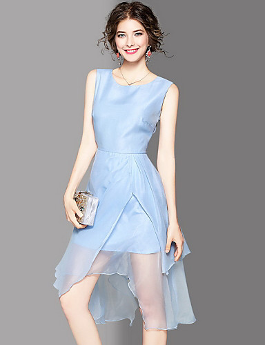 Women's Going out Cute Sheath Dress,Solid Round Neck Knee-length Sleeveless Cotton Summer Mid Rise Micro-elastic Medium