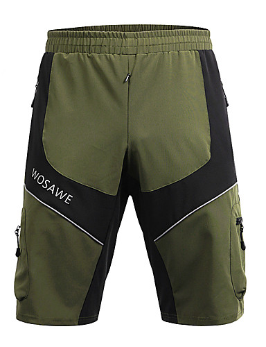 cheap Cycling Clothing-WOSAWE Men's Cycling MTB Shorts Bike Baggy Shorts MTB Shorts Pants Reflective Strips Sports Polyester Army Green Mountain Bike MTB Road Bike Cycling Clothing Apparel Advanced Relaxed Fit Bike Wear
