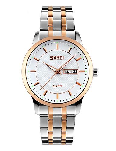SKMEI Homens Relógio de Pulso Relógio Elegante Japanês Quartzo Calendário Impermeável Aço Inoxidável Banda Legal Cores Múltiplas