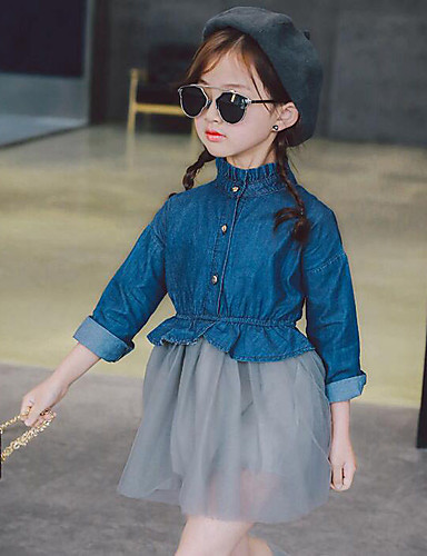 Girl's Patchwork Dress, Cotton Rayon Polyester Spring Fall Long Sleeves Ruffle Lace Black Gray