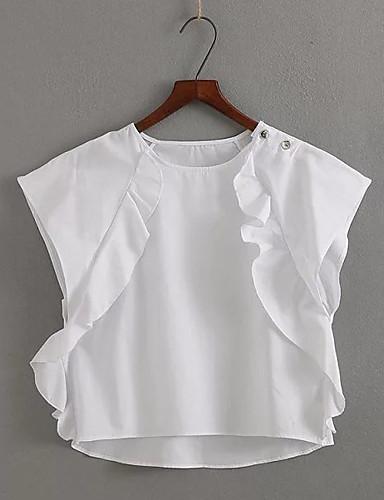Naiset Hihaton Pyöreä kaula-aukko Polyesteri Yksinkertainen Päivittäin Kausaliteetti T-paita,Yhtenäinen