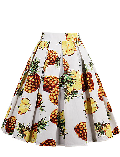 Women's Holiday / Going out Active Cotton A Line Skirts - Geometric Pineapple, Print / Spring / Summer / Fall / Floral Patterns