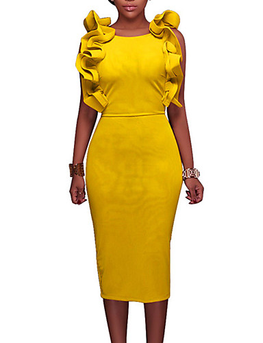 Women's Club Street chic Butterfly Sleeves Bodycon Dress - Solid Colored / Simple Ruffle / Split High Rise