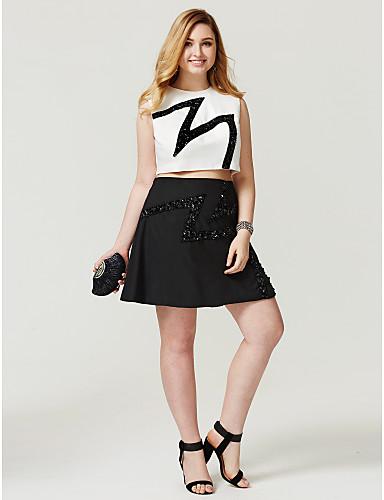 a-line juvel hals kort / mini chiffon pluss størrelse cocktail party homecoming kjole av ts couture®