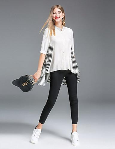 Damen Solide Gestreift Einfach Ausgehen Lässig/Alltäglich Hemd,V-Ausschnitt Frühling Sommer Halbe Ärmel Baumwolle Mittel