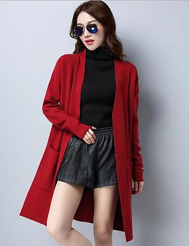 Damen Lang Strickjacke-Lässig/Alltäglich Solide V-Ausschnitt Langarm Wolle Andere Herbst Mittel Mikro-elastisch