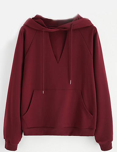 Damen Kapuzenshirt Festtage Ausgehen Lässig/Alltäglich Solide Mit Kapuze Mikro-elastisch Polyester Langärmelige Frühling Herbst Winter