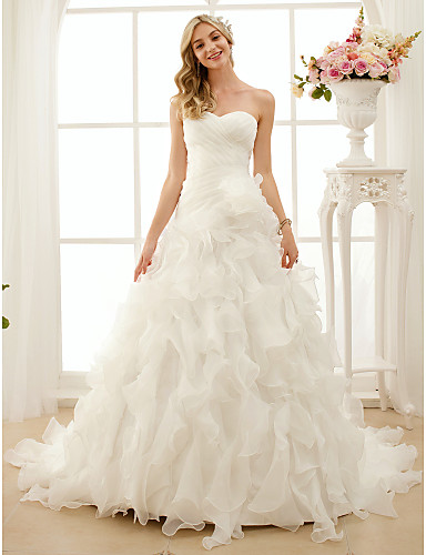 a0371ea946 Vera Wang Style Ball Gown Sweetheart Neckline Court Train Organza ...