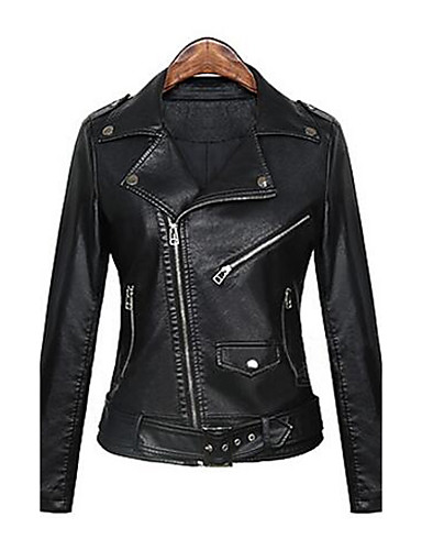 Women's Punk & Gothic Street chic Leather Jacket-Solid Colored
