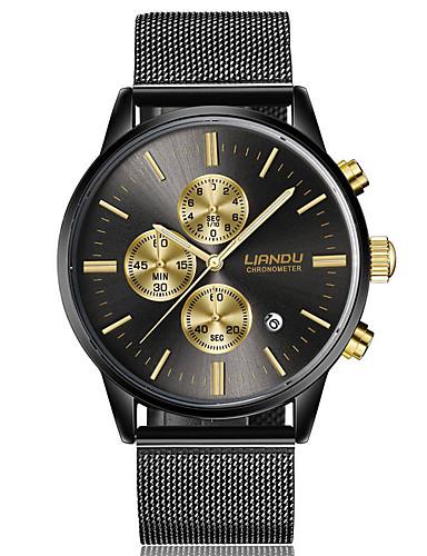 Herrn Kleideruhr Modeuhr Quartz Armbanduhren für den Alltag Edelstahl Band Charme Schwarz Gold