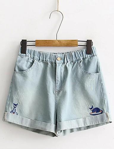 Damen Street Schick Mittlere Hüfthöhe Mikro-elastisch Jeans Kurze Hosen Lose Hose Solide