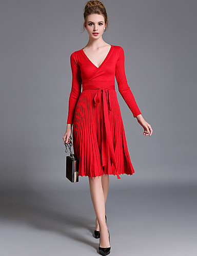 Women's Going out Street chic Cotton / Acrylic Swing / Sweater Dress - Solid Colored Red, Pleated V Neck / Fall / Winter