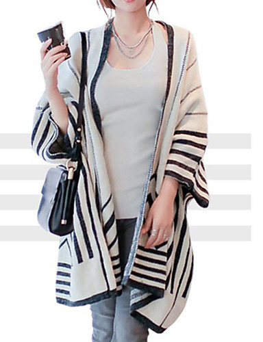 Damen Lang Pullover-Lässig/Alltäglich Solide Hemdkragen 3/4 Ärmel Baumwolle Herbst Winter Mittel Mikro-elastisch