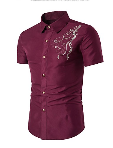 Men's Cotton Shirt - Solid Colored Embroidered Standing Collar / Short Sleeve