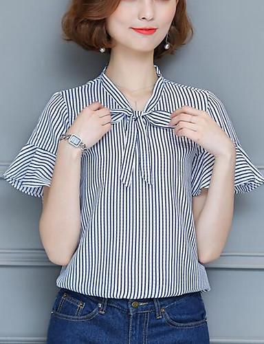 Damen Gestreift Einfach Lässig/Alltäglich Bluse,V-Ausschnitt Kurzarm Andere
