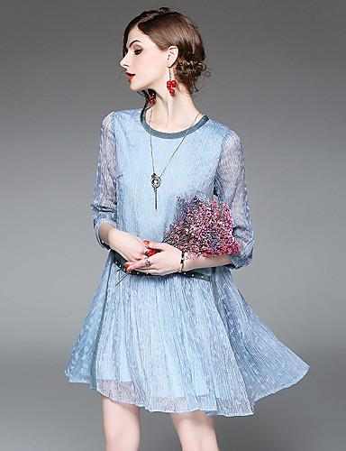 Damen A-Linie Lose Hülle Kleid-Ausgehen Lässig/Alltäglich Einfach Street Schick Anspruchsvoll Blumen Rundhalsausschnitt Übers Knie3/4