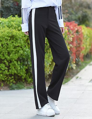 Damen Einfach Hohe Hüfthöhe Mikro-elastisch Chinos Lose Hose Solide Gestreift