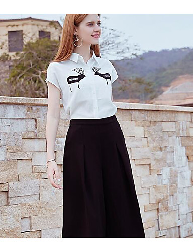 Damen Solide Einfach Ausgehen Lässig/Alltäglich Bluse Hose Anzüge,Rundhalsausschnitt Sommer Kurzarm