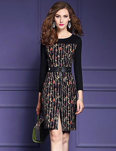 Women's Going out Street chic Slim Sheath Dress Black, Split / Print