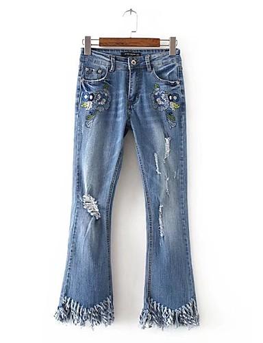 Damen Street Schick Mittlere Hüfthöhe Mikro-elastisch Schlank Jeans Hose,Baumwolle Acryl Ganzjährig Stickerei