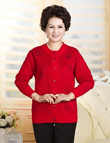 Damen Standard Strickjacke-Lässig/Alltäglich Druck Rundhalsausschnitt Langarm Wolle Winter Mittel Mikro-elastisch