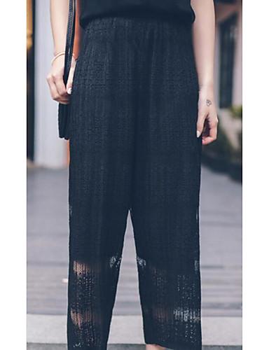 Damen Einfach Hohe Hüfthöhe Mikro-elastisch Chinos Gerade Hose,Chiffon Solide