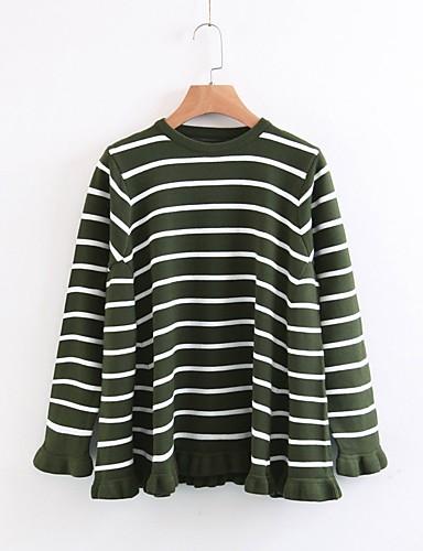 Damen Standard Pullover-Lässig/Alltäglich Ausgehen Einfach Niedlich Gestreift Rundhalsausschnitt Langarm Baumwolle Frühling Herbst Mittel