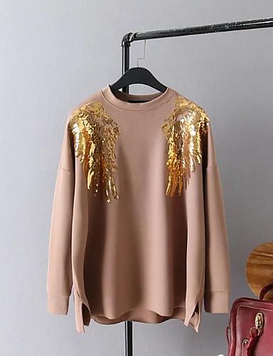 Damen Pullover Ausgehen Lässig/Alltäglich Einfach Niedlich Aktiv Druck Rundhalsausschnitt Mikro-elastisch Baumwolle Lange Ärmel Frühling
