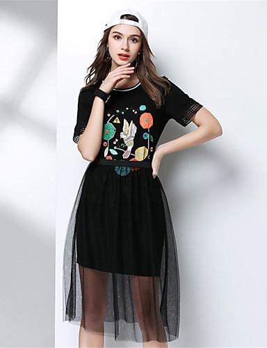 Damen Solide Druck Einfach Lässig/Alltäglich T-Shirt-Ärmel Rock Anzüge,Rundhalsausschnitt Sommer Kurzarm