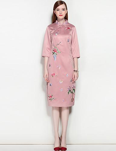 Damen Street Schick Puff Ärmel A-Linie Kleid - Gespleisst, Solide Stickerei Midi Knielang Ständer