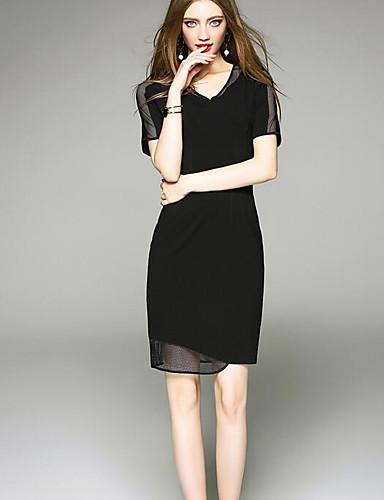 Damen Hülle Kleid-Party Ausgehen Einfach Solide V-Ausschnitt Übers Knie Kurzarm Acryl Polyester Sommer Herbst Mittlere Hüfthöhe