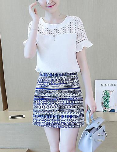 Damen Muster Grafik Einfach Anspruchsvoll Ausgehen Bluse Rock Anzüge,Rundhalsausschnitt Sommer ½ Ärmel