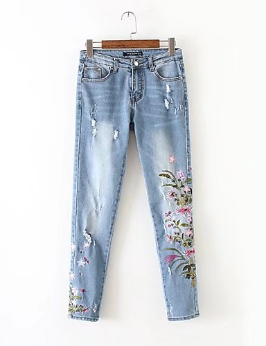 Women's Street chic Skinny Jeans Pants - Solid Colored, Embroidered