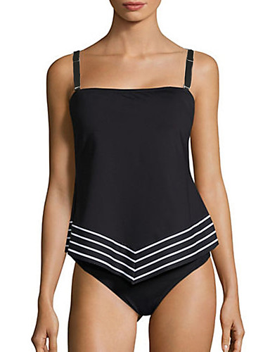 Women's Strap Tankini - Striped Briefs