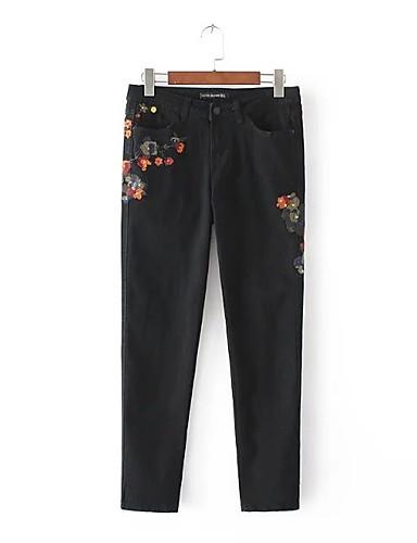 Damen Street Schick Mittlere Hüfthöhe Mikro-elastisch Schlank Jeans Hose,Andere Ganzjährig Solide Stickerei