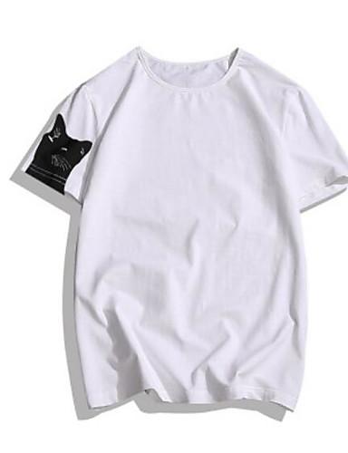 Herren Tierfell-Druck Einfach Ausgehen Lässig/Alltäglich T-shirt,Rundhalsausschnitt Kurzarm Baumwolle