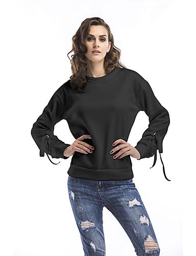 Damen Pullover Alltag Festtage Ausgehen Freizeit Aktiv Street Schick Solide Rundhalsausschnitt Mikro-elastisch Baumwolle Langärmelige