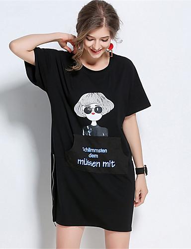 Damen Hülle Kleid-Lässig/Alltäglich Solide Druck Rundhalsausschnitt Übers Knie Kurzarm Baumwolle Sommer Mittlere Hüfthöhe Mikro-elastisch