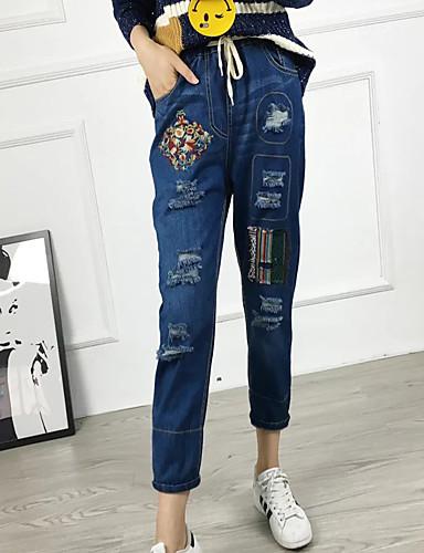 Damen Street Schick Mittlere Hüfthöhe Mikro-elastisch Haremshosen Jeans Hose,Baumwolle Leinen Winter Frühling Sommer Herbst Solide Druck