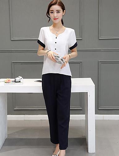 Damen Solide Einfach Lässig/Alltäglich T-Shirt-Ärmel Hose Anzüge,Sweetheart Sommer Kurzarm