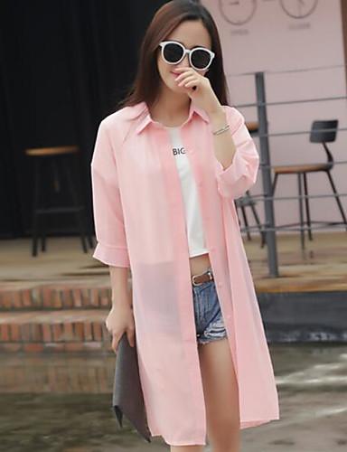 Damen Solide Einfach Ausgehen Arbeit Bluse,Ständer Sommer Langarm Baumwolle Dünn